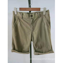 khaki twill scratch turn up hem men's shorts