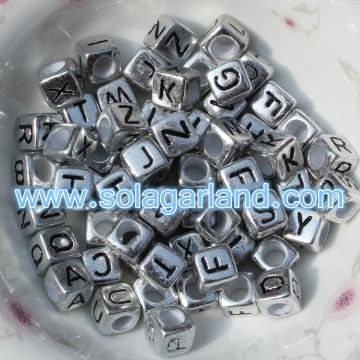 Perles de 6MM Antique Silver Alphabet Cube perles simple lettre Square