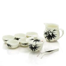 Blue Peony Oolong Geschirr Set 1 Gaiwan, 1 Krug und 6 Tassen, Tee-Set