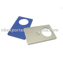 Plastic card with magnifier and light