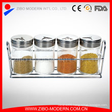 Wholesale 4PCS/Set Mini Glass Spice Jars Rack