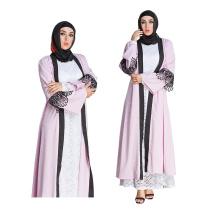 Mode AZTEC Tissé Robe Femmes Moyen modèles perle dentelle dubai rose robe abaya