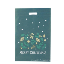 Sac à provisions en tissu découpé vert Noël
