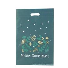Weihnachtsgrün gestanzte Stoff-Einkaufstasche
