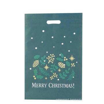 Christmas Green Die Cut Cloth Shopping Bag