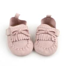 Mjuk Cow Leather Bowknot Kids Baby Girl Moccasins