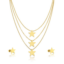 24K chapado en oro Hight Quality Girl Star Layered Necklace Jewelry Set