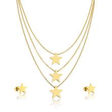 24k позолоченный высокое качество девушка Звезда Наслоенные ожерелье комплект ювелирных изделий