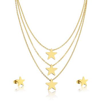 Banhado a ouro 24k hight qualidade menina estrela em camadas colar conjunto de jóias