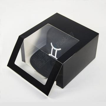 Empaquetado personalizado de la caja de regalo del casquillo negro de las gorras de béisbol