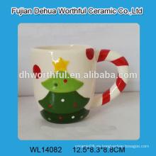 Taza de cerámica con patrón de árbol de Navidad sin tapa