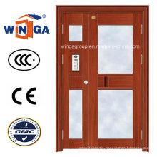 Son-Mother Swing Exterior Entrance Security Steel Glass Door (W-GD-21)