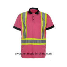 Custom Safety Reflective Tape Polo T-Shirt with Birdeye Mesh