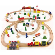 100PCS Wooden Train Set Toy for Kids and Children