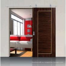 Puerta corrediza chapeada modificada para requisitos particulares moderna del diseño marrón oscuro interior