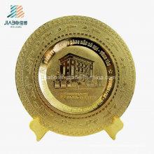 Placa feita sob encomenda barata da lembrança do metal do ouro do logotipo da corrosão do cobre da fonte de Jiabo