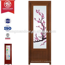 Porte de salle de bain en PVC et PVC de qualité et qualité avec verre givré