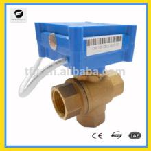Válvula de bola de motor de 3 vías DC5V CWX20P, latón hembra-hembra-hembra DN15 L-flow
