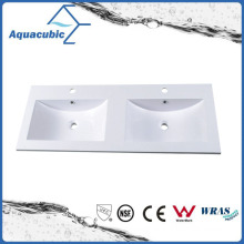 Artificial Marble Double Bowl Bathroom Wash Basin Sink Acb1202