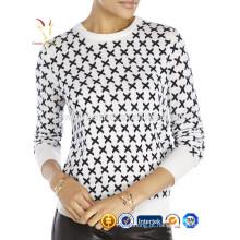Moda camisola de caxemira de impressão para mulheres inverno 12GG