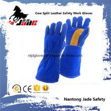 Cuero de vaca de cuero dividido mano industrial de seguridad de soldadura guante de trabajo