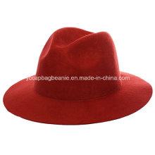 100% chapéu de lã Fedora, chapéu de feltro de lã