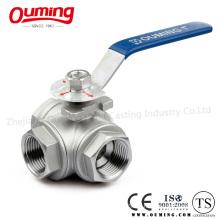 Нержавеющая сталь трехходовой шаровой клапан с ручкой (T / L)