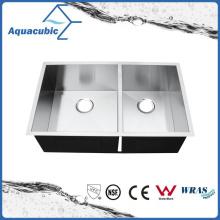 Fregadero hecho a mano de la cocina del tazón de fuente doble del acero inoxidable (ACS3320S)