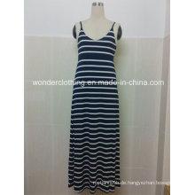 Sexy ärmellose Streifen Sling Stripe Maxi Langes Kleid