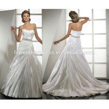 WD0055 shimmer organza off ombro strapless ruched corpete frisado sash laço até costas costura vestidos de noiva