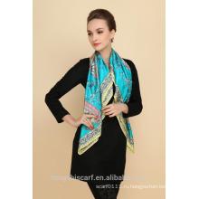 новая мода дамы печать шелк квадратный шарф