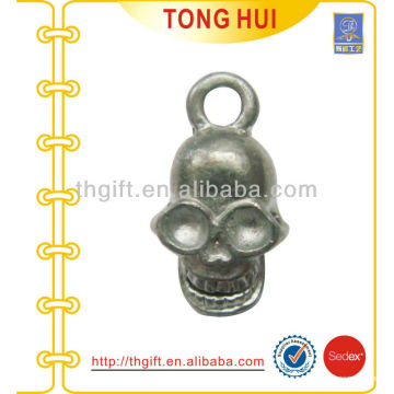 Skull head shape metal mobile phone strap
