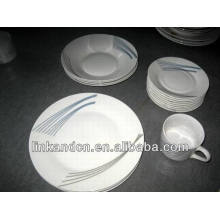 Haonai 20pcs simple decal brilliant porcelain dinnerware sets