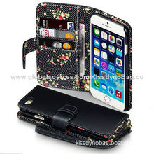 Black PU leather wallet purse flip case with flowers for iPhone 6