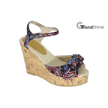 Mujeres Slingback Strap plataforma de cuña de corcho sandalias