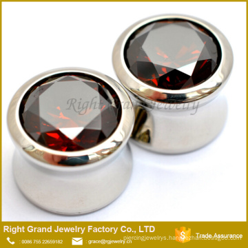 316L Surgical Steel Mirror Polished Big Red Zircon Centred Ear Gauges Plugs