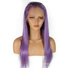 """Em estoque 10 """"-24"""" cabelo humano roxo rendas frente perucas remy brasileiro peruca de cabelo emaranhado livre sem derramamento em linha reta"""