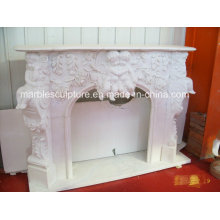 Natural Stone White Mareble Fireplace with Carved Angel and Flowers (SY-MF145)