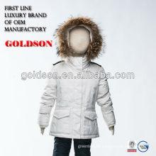 Russische Jacke kurti reine weiße Daunenjacke mit großem Waschbär Pelz Kapuze
