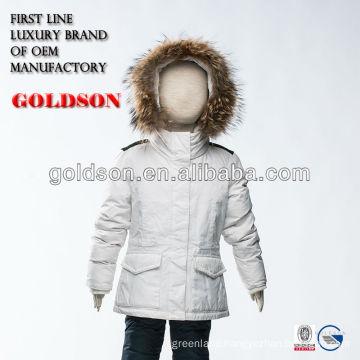 Russian jacket kurti pure white down jacket with big raccoon fur hood