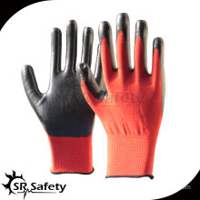 SRSAFETY 13G knitted polyester coated nitrile gloves red anti sliding gloves