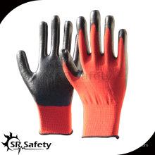 SRSAFETY 13G трикотажные полиэфирные нитриловые перчатки красные противоскользящие перчатки