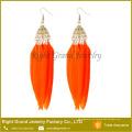 Pendientes de moda diseños Pendientes de nueva modelo Señora Pendiente de pluma largo Natural Natural