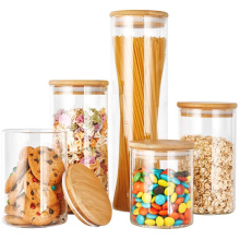 500ml 650ml 720ml 750ml 1000ml Borosilicate aritight Glass Kitchen Food Storage Container Jar with Sealed Bamboo Lid