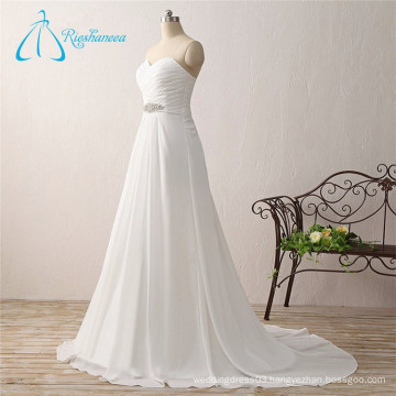 Bandage Criss-Cross Pleats Chiffon Empire Summer Wedding Dress