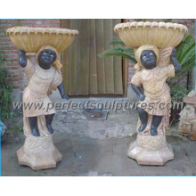 Jardinero de mármol de la flor del jardín de mármol de piedra para la decoración casera (QFP004AB)