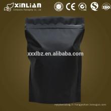 Sac de fermeture à glissière noir mat pour emballage de thé / sac de refroidissement en aluminium / paquet de stand up
