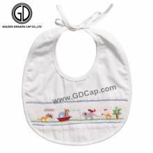 Baberos al por mayor del bebé con la impresión y el bordado de animales lindos