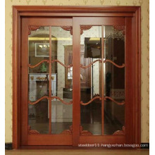 Wooden Glazed sliding door for kitchen entrance