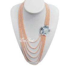 4mm 6 Layer Pink Echte Perlenkette
